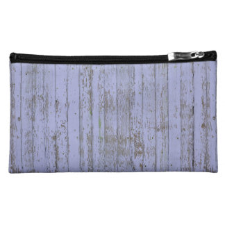 Lavender Faux Wood Texture Suede Cosmetic Bag