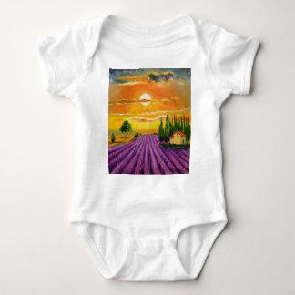Lavender field at sunset baby bodysuit