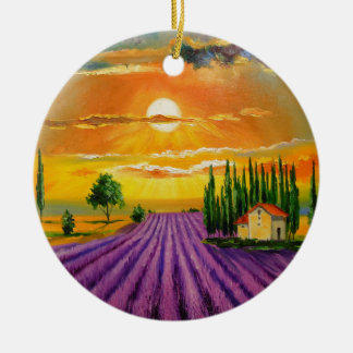 Lavender field at sunset ceramic ornament