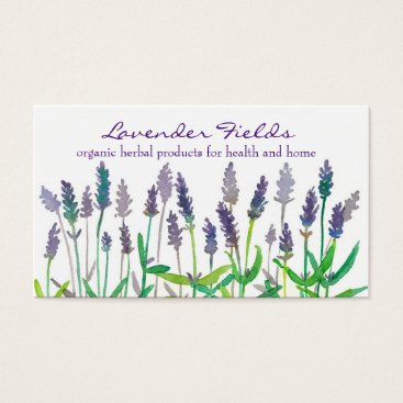 Professional Business Lavender Field Herb Watercolor Flowers Business Card