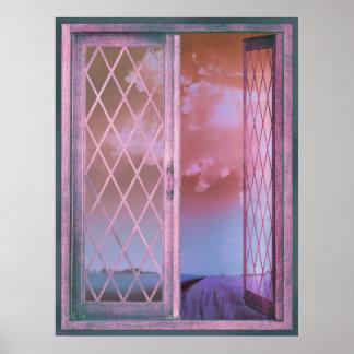 Lavender Fields in Window Shabby Chic original art Poster
