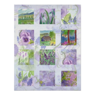 Lavender Fields Watercolor Flower Collage Art Poster