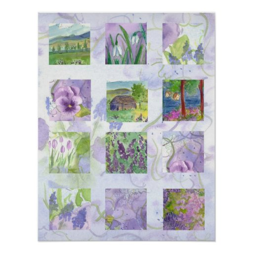 Lavender Fields Watercolor Flower Collage Art Print