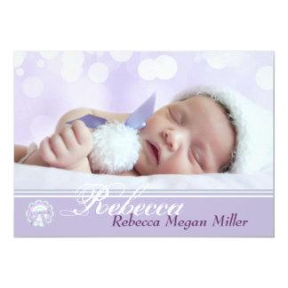 Lavender Finesse Photo Birth Announcement