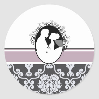 Lavender First Kiss Wedding Seal Classic Round Sticker