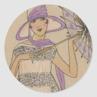Lavender Flapper Girl With Parasol Classic Round Sticker