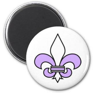 Lavender  fleur de lis 2 inch round magnet