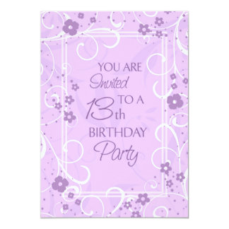 Lavender Floral 13th Birthday Party Invitations