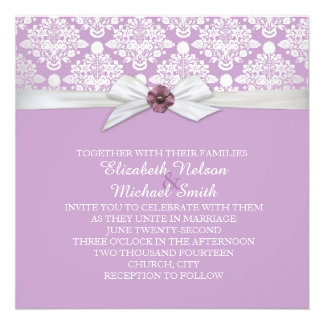 Lavender Floral Bouquet Damask Wedding Invite