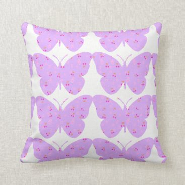 Beach Themed Lavender-Floral_Butterflies(c)M-L-Pillow Throw Pillow