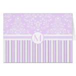 Lavender Floral Damask and Stripes-Monogram Card