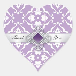 Lavender Floral Damask Wedding Thank You Heart Sticker