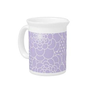 Lavender Floral Design Modern Abstract Flowers Pitcher