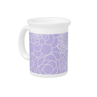 Lavender Floral Design Modern Abstract Flowers Drink Pitchers