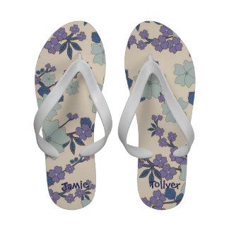 Lavender Floral Flip Flops