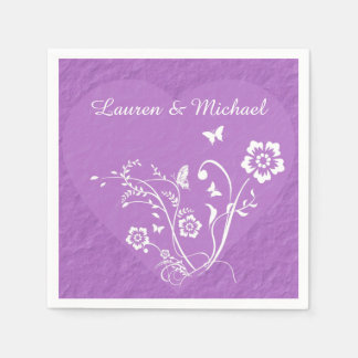 Lavender Floral Heart Personalized Wedding Paper Napkin