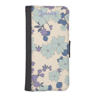 Lavender Floral iPhone 5 Wallet Style Case