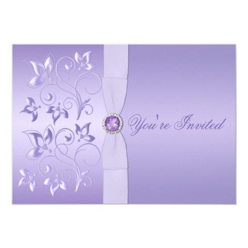 Lavender Floral Jeweled Wedding Invitation