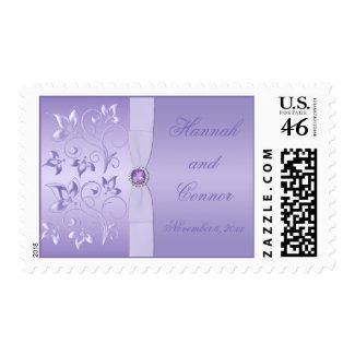 Lavender Floral Jewelled Monogrammed Postage stamp