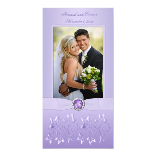 Lavender Floral Jewelled Photo Card