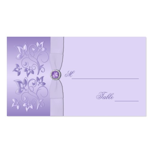 Lavender Floral Jewelled Placecards Business Card Templates