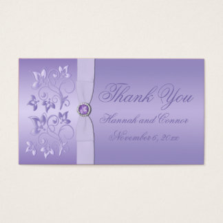 Lavender Floral Jewelled Wedding Favor Tag