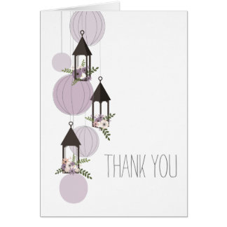 Lavender Floral Lanterns Thank You Card