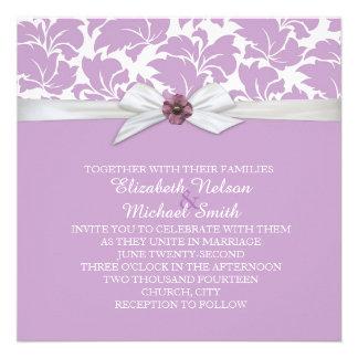 Lavender Floral Leaves Damask Wedding Invite