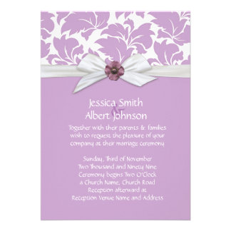 Lavender Floral Leaves Damask Wedding Invite