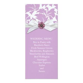 Lavender Floral Leaves Damask Wedding Menu Announcement