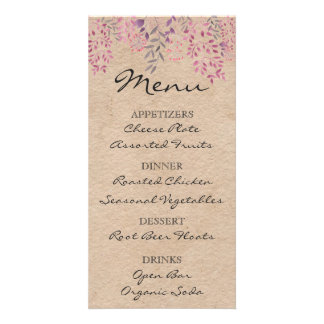 Lavender Floral Menu Card