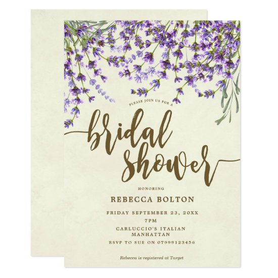 lavender floral modern bridal shower invitation