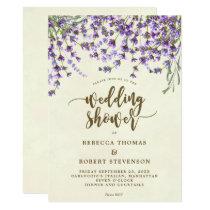 lavender floral modern wedding shower invitation