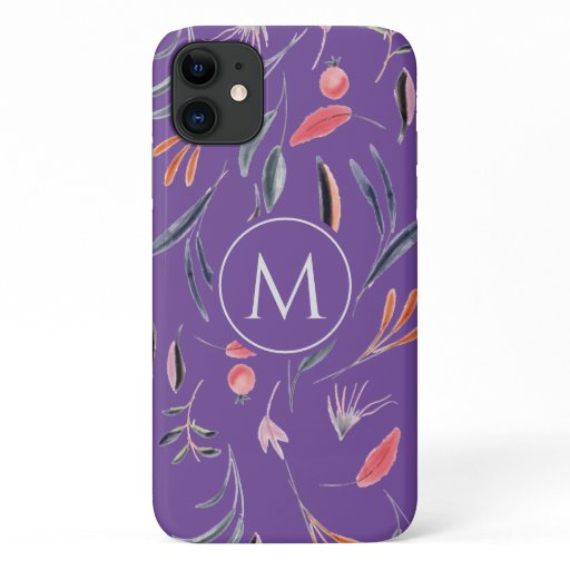 Lavender Floral MONOGRAM Custom Personalized iPhone 11 Case