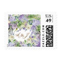 Lavender Floral Monogram Wedding Stamp