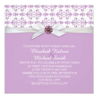 Lavender Floral Ornaments Damask Wedding Invite
