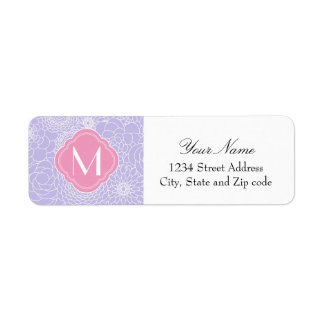 Lavender Floral Pattern with Pink Monogram Label