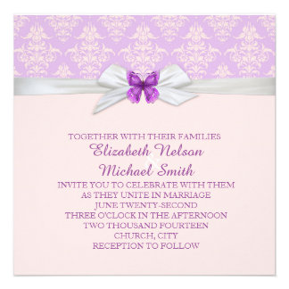 Lavender Floral Ribbon Damask Wedding Invite
