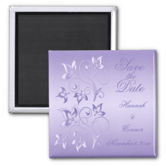 Lavender Floral Save the Date Magnet