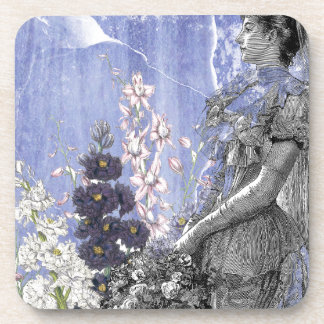 Lavender Floral Steampunk Victorian Bride Wedding Drink Coaster