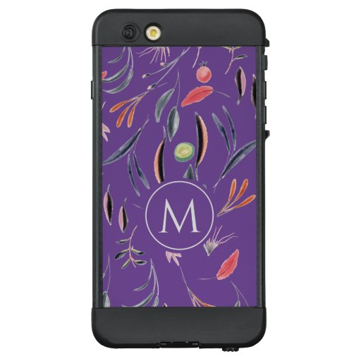 Lavender Floral Watercolor MONOGRAM Custom LifeProof NÜÜD iPhone 6 Plus Case
