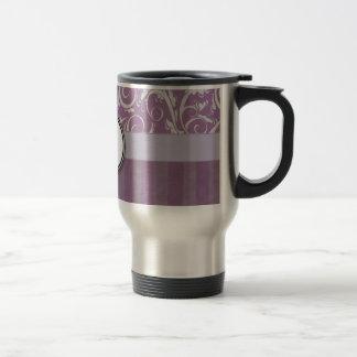 Lavender Floral Wisps & Stripes with Monogram 15 Oz Stainless Steel Travel Mug