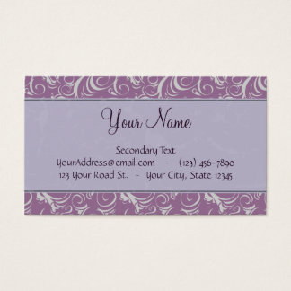 Lavender Floral Wisps & Stripes with Monogram Business Card