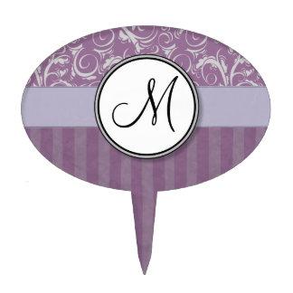Lavender Floral Wisps & Stripes with Monogram Cake Picks