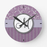 Lavender Floral Wisps & Stripes with Monogram Round Wallclock
