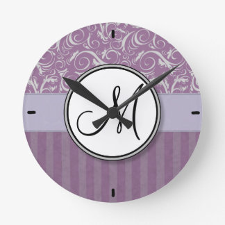 Lavender Floral Wisps Stripes with Monogram Round Wallclock