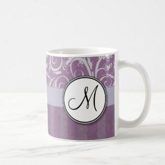 Lavender Floral Wisps & Stripes with Monogram Coffee Mug