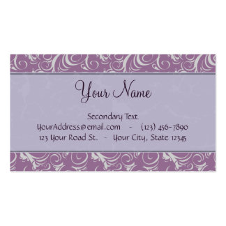 Lavender Floral Wisps & Stripes with Monogram Double-Sided Standard Business Cards (Pack Of 100)