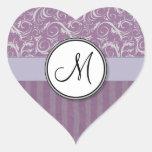 Lavender Floral Wisps & Stripes with Monogram Heart Sticker