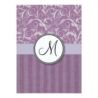 Lavender Floral Wisps & Stripes with Monogram Custom Invite